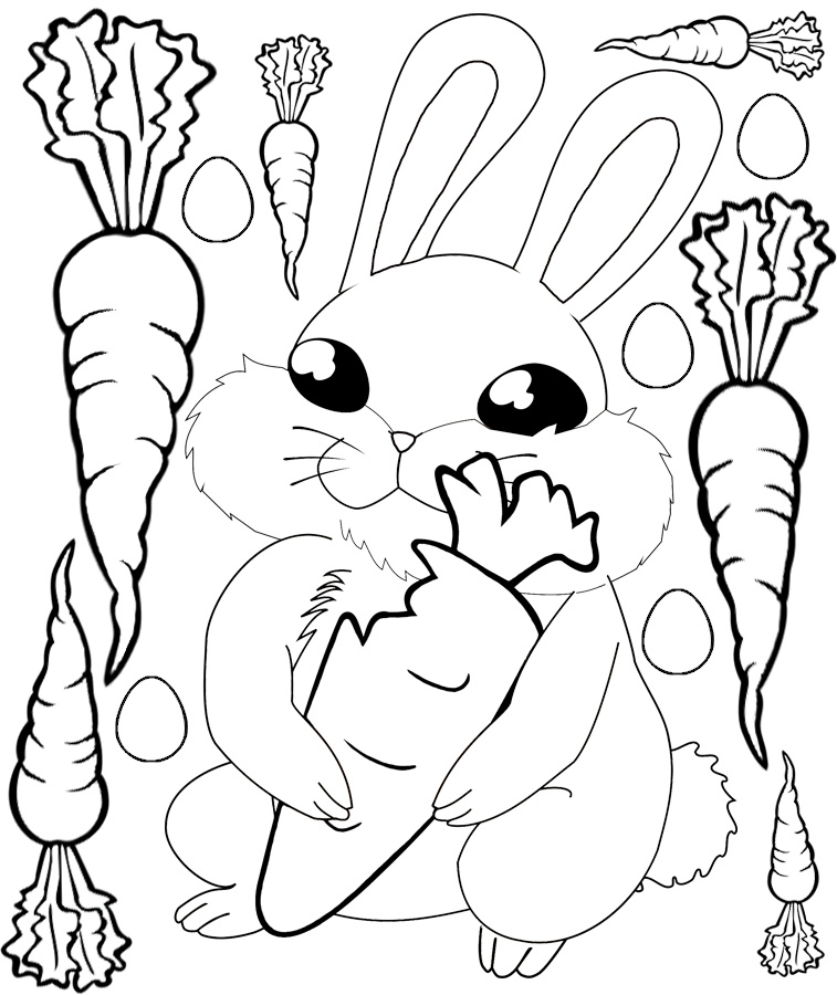Easter bunny with carrot colouring rooftop post printables for Carrot coloring page