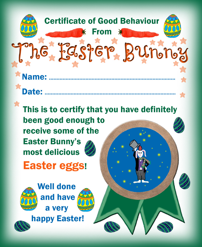 Easter bunny certificate of good behaviour rooftop post printables easter bunny certificate of good behaviour negle Gallery