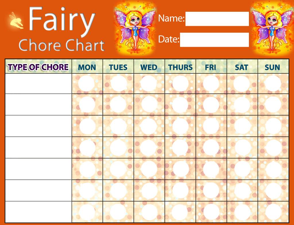 Fairy chore chart rooftop post printables