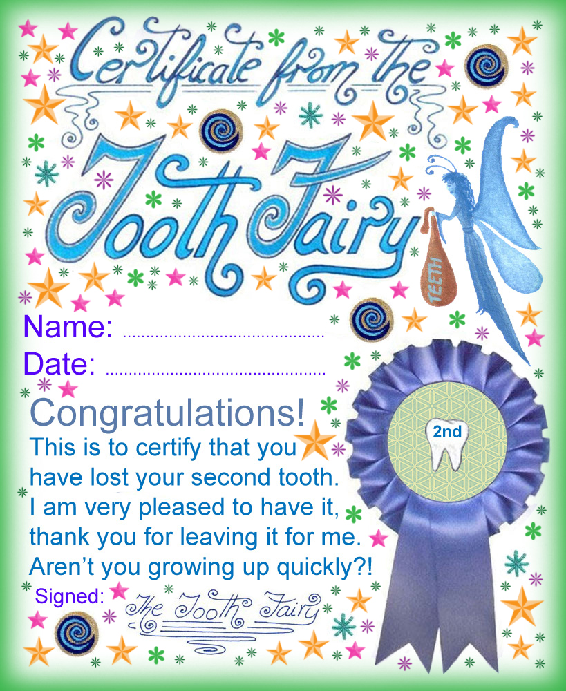 Tooth Fairy Certificate: Award for Losing Your Second Tooth - Rooftop ...