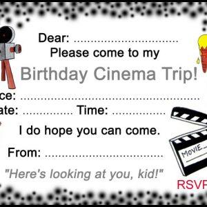 Printable invitation to a birthday cinema trip