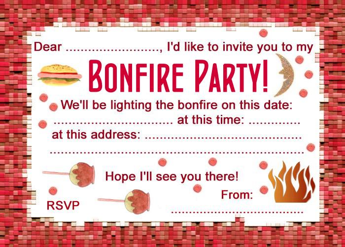bonfire birthday party invitations  veerik, invitation samples