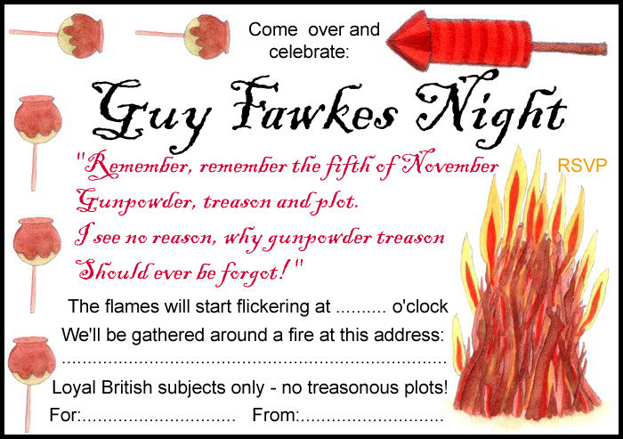 party invitation for guy fawkes night - Bonfire Party Invitations