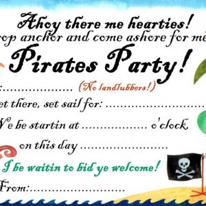 Invitation to a pirates party