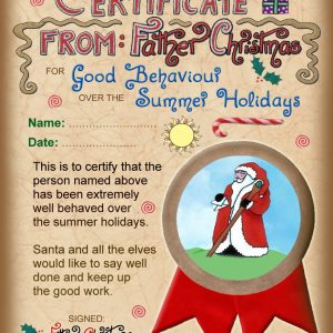 A certificate from Father Christmas to say well done for good behaviour over the summer holidays