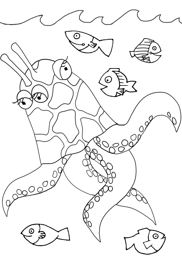 A funny sea monster to print and colour in