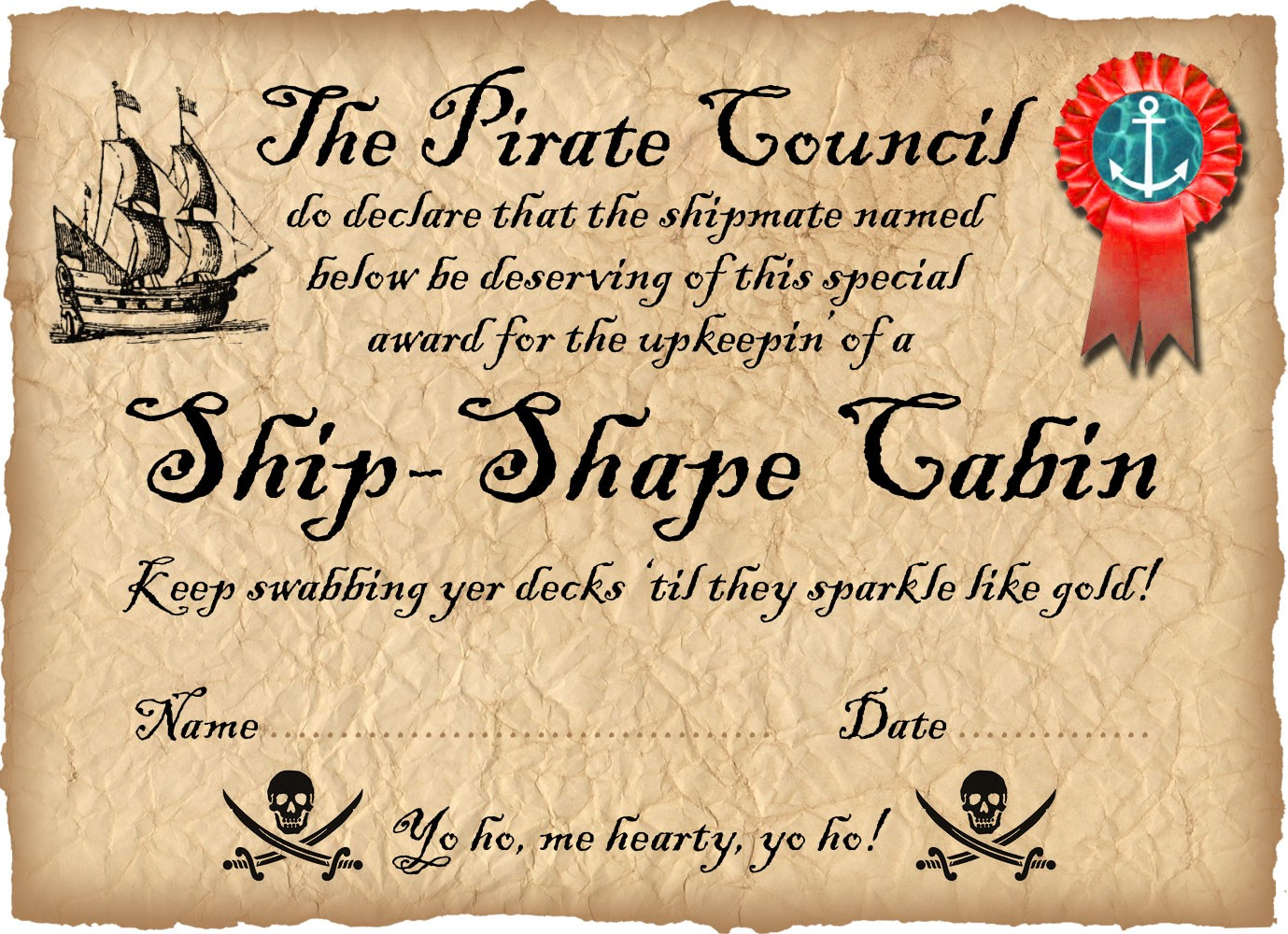 Pirate award for a ship shape room rooftop post printables pirate certificate award for a ship shape cabin xflitez Choice Image
