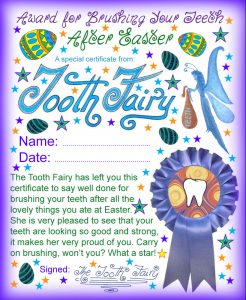 Certificate from the Tooth Fairy - an award for brushing teeth after Easter