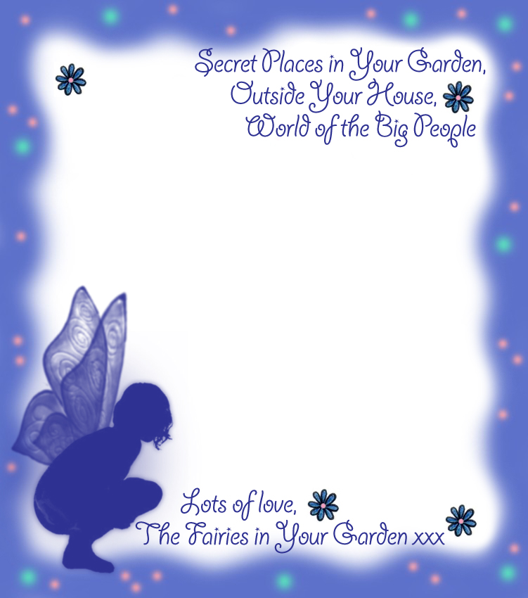 Blank notepaper from the fairies in your garden blue for Fairy letters