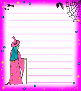 Pink Witch Notepaper (Lined)