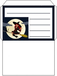 Printable witch on a broomstick envelope