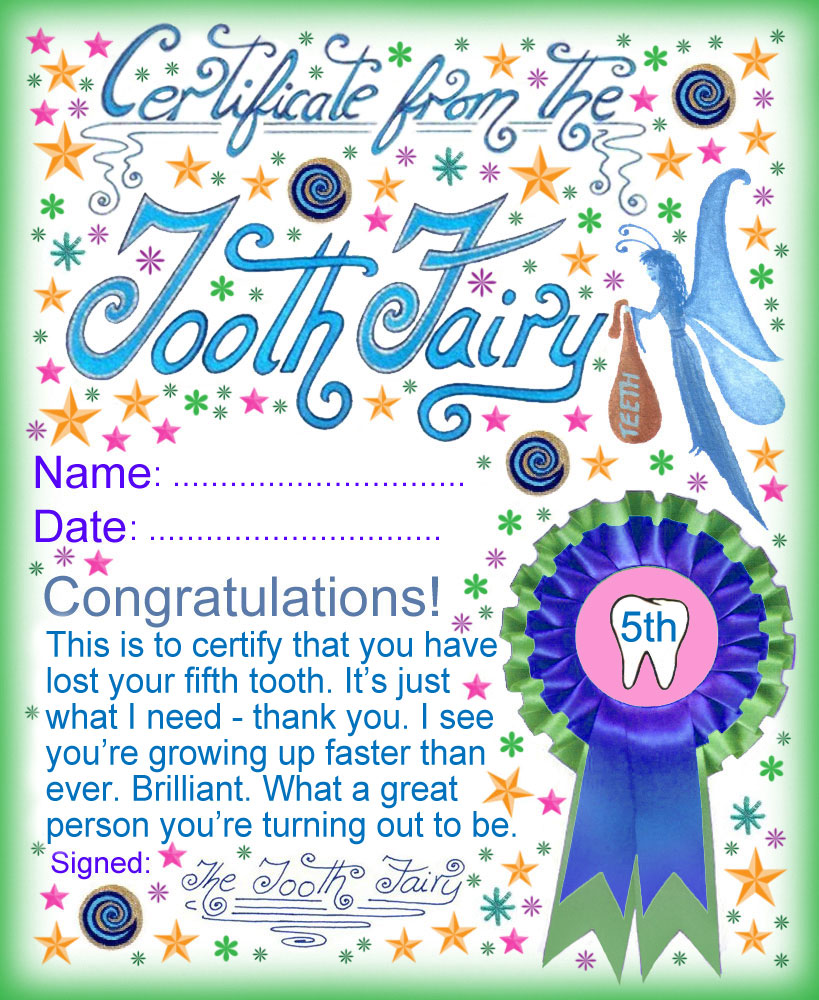 Modern tooth fairy certificates rooftop post printables a certificate from the tooth fairy for a child who has lost his or her fifth yadclub Images
