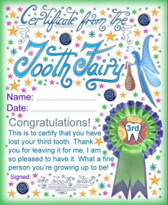 A certificate from the Tooth Fairy for a child who has lost his or her third Tooth