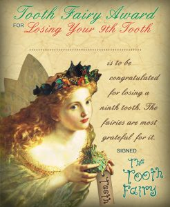 Vintage Tooth Fairy Certificate: Award for Losing Your 9th Tooth