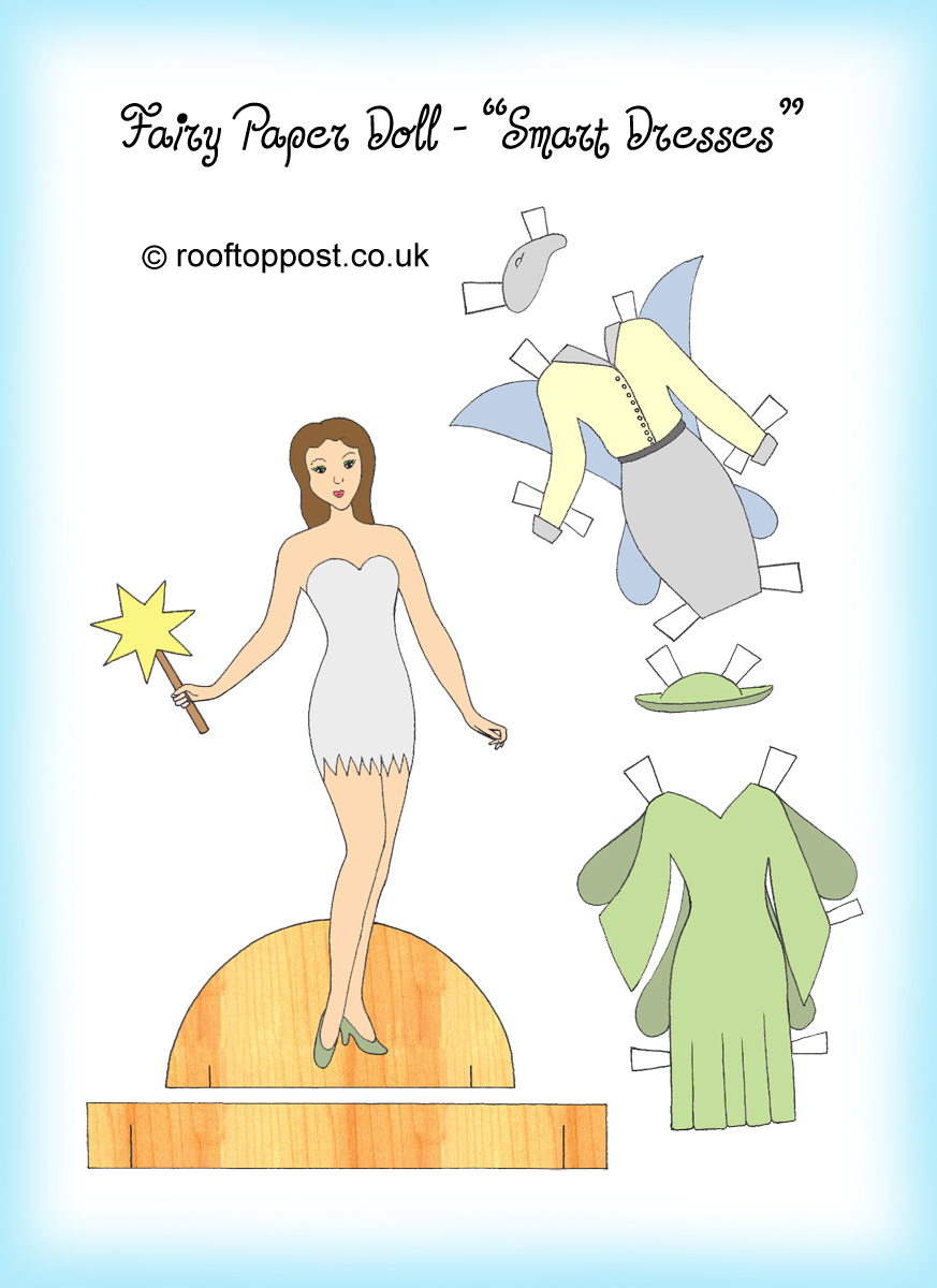 Fairy Paper Doll with Flower Dresses Rooftop Post Printables