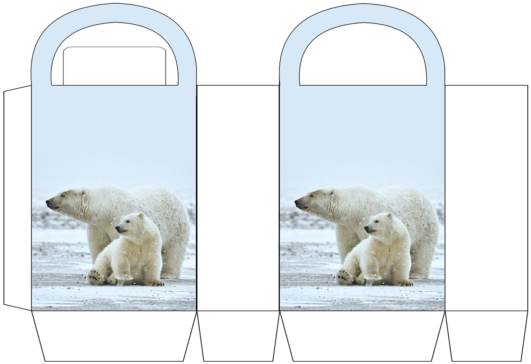 Polar Bear Mother and Cub Party Bag