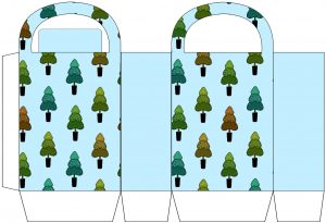 Blue Christmas Trees Party Bag