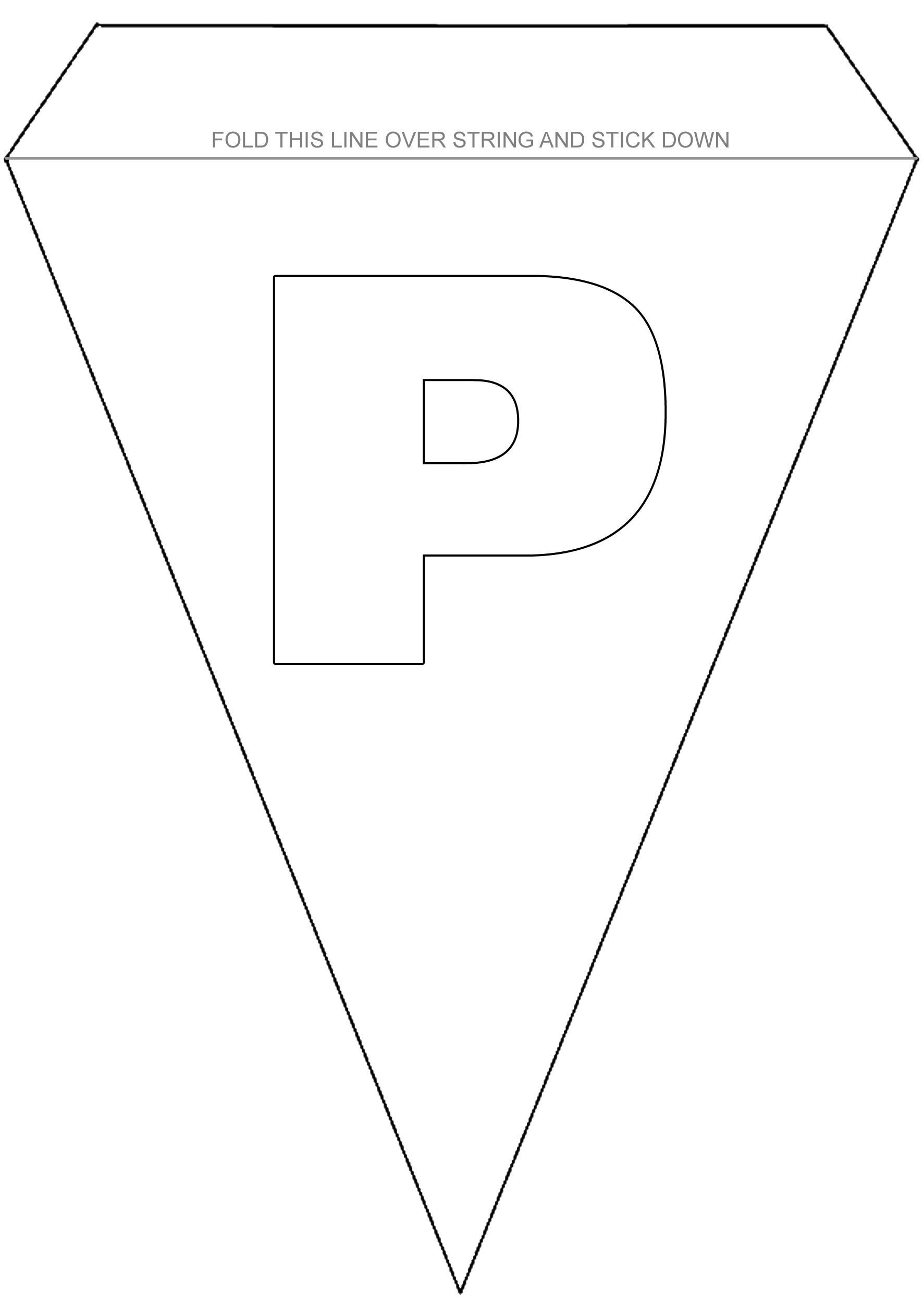 Alphabet Bunting to Colour - Letter P - Rooftop Post Printables