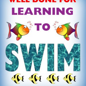 Kids' certificate for saying well done for learning to swim