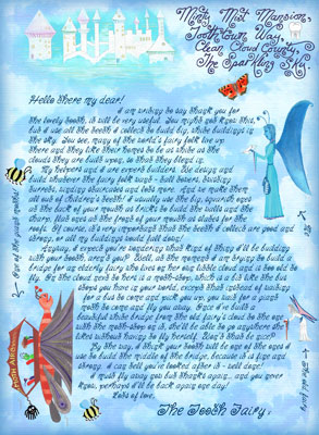 """Free letter from the Tooth fairy entitled """"a Bridge Between Clouds"""""""