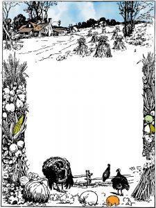 Black and white printable harvest-themed notepaper