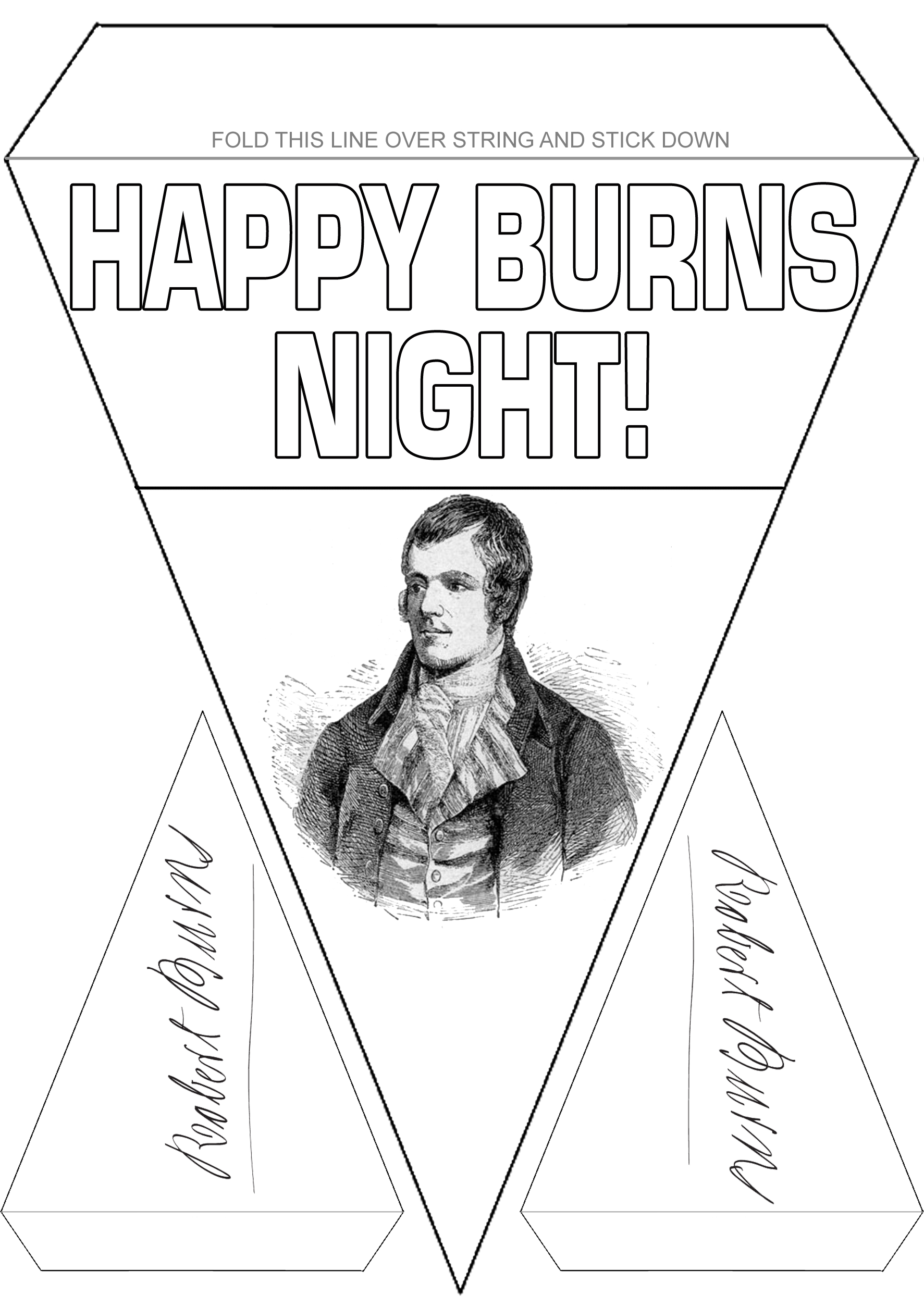 Burns Supper Decoration: Black and White Bunting