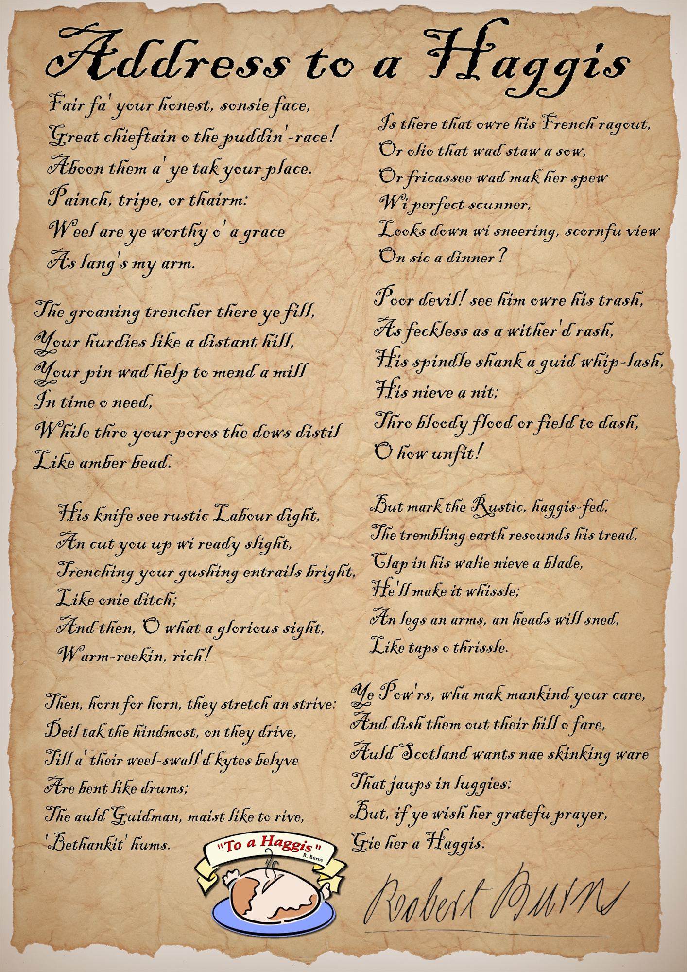 Address to a Haggis by Robert Burns - Rooftop Post Printables