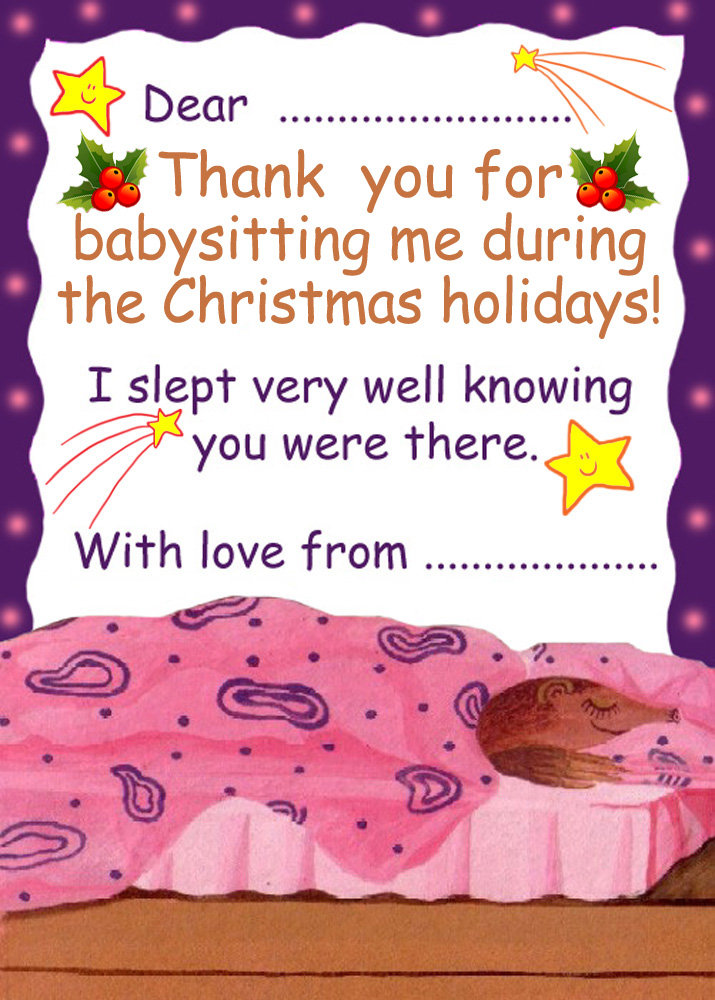 Thank You for Babysitting During the Christmas Holidays