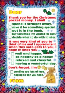 Thank you note - Thank You for My Christmas Pocket Money