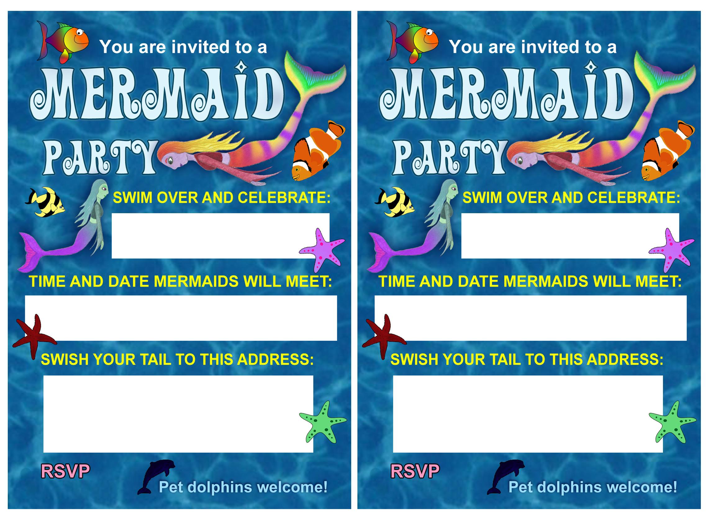Blue Sea Mermaid Party Invitation