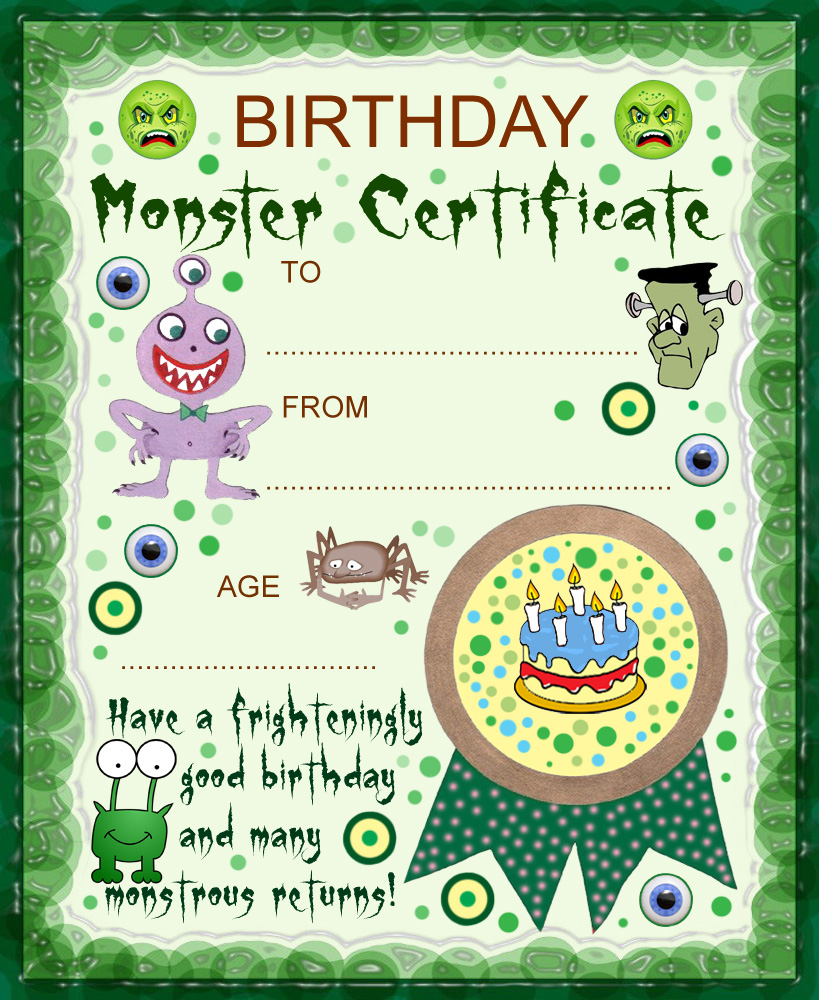 Printable monster birthday certificate