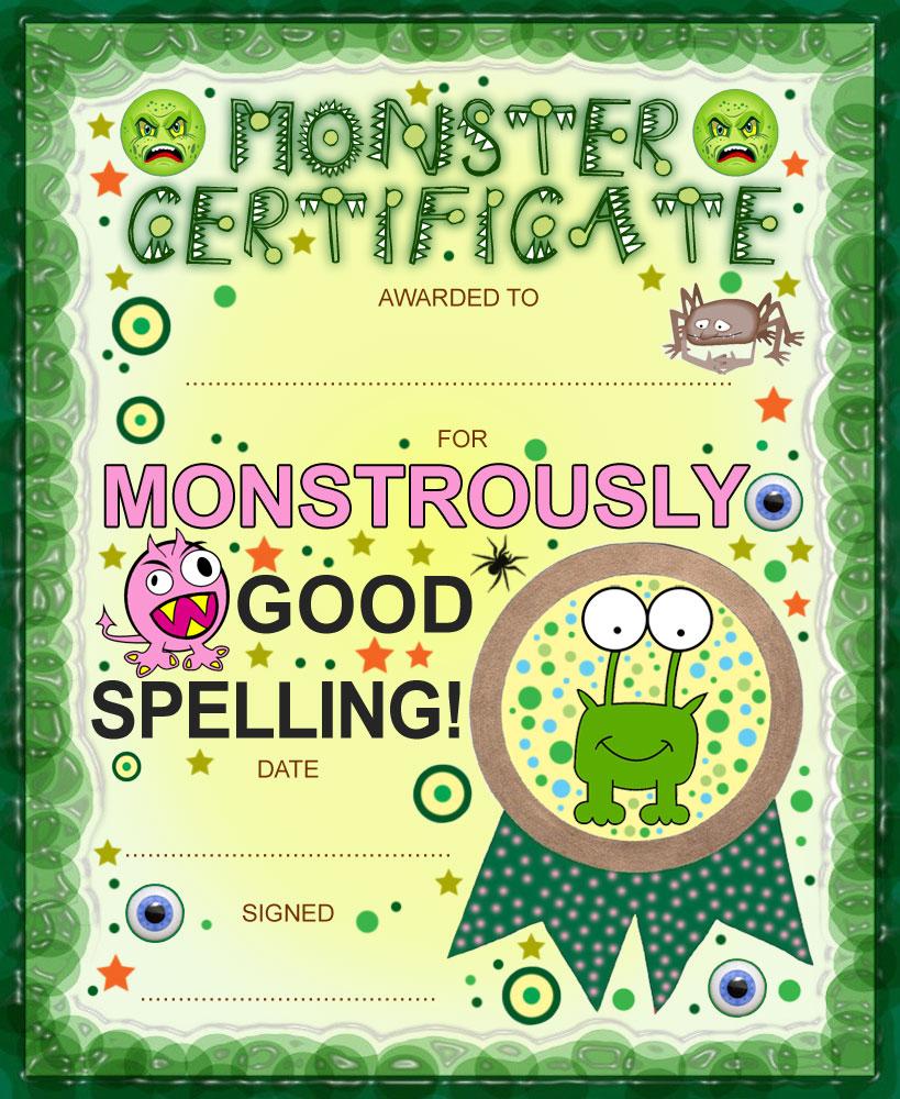 Monster certificate award for good spelling