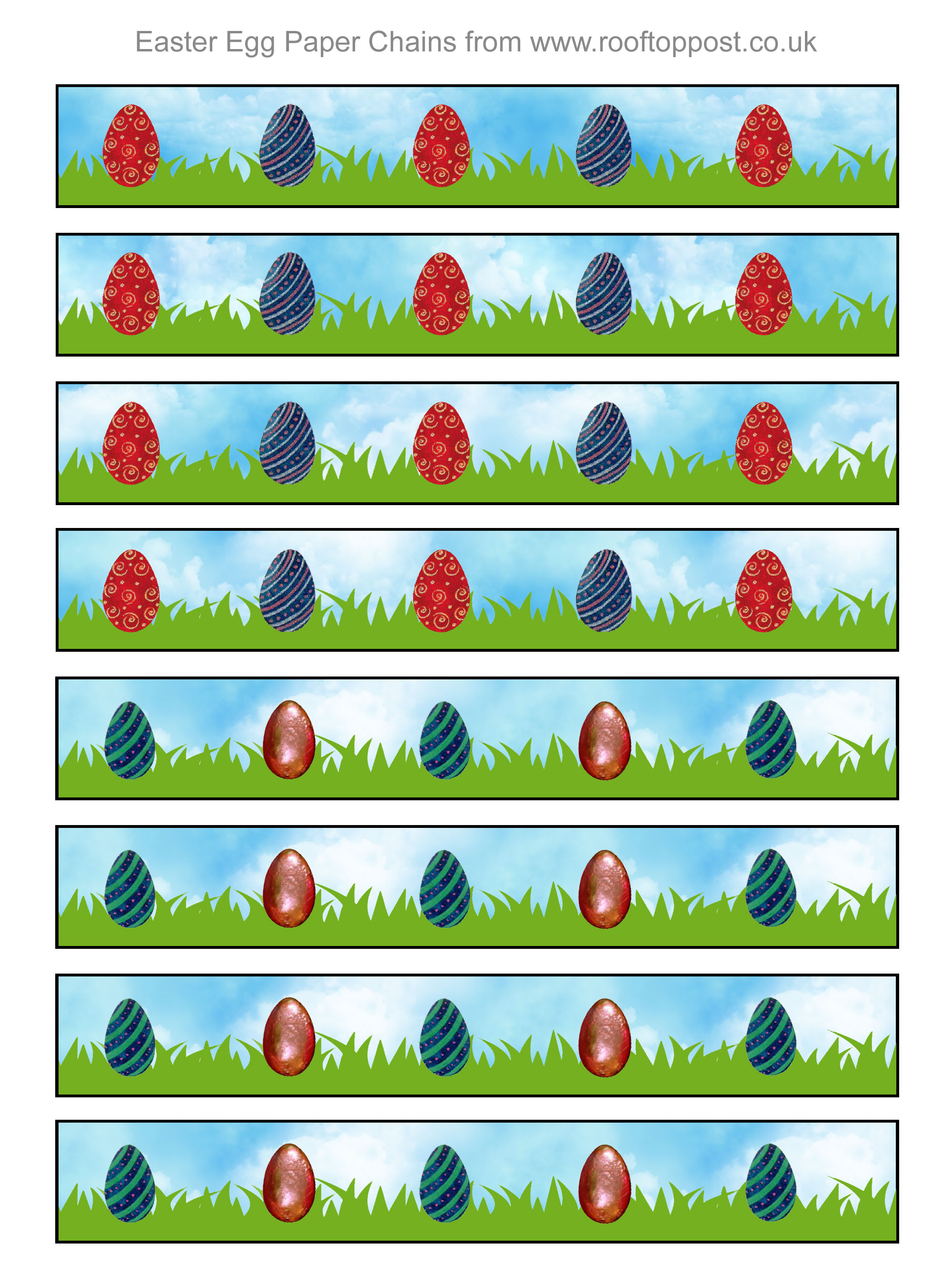 Printable paper chains with an Easter egg design