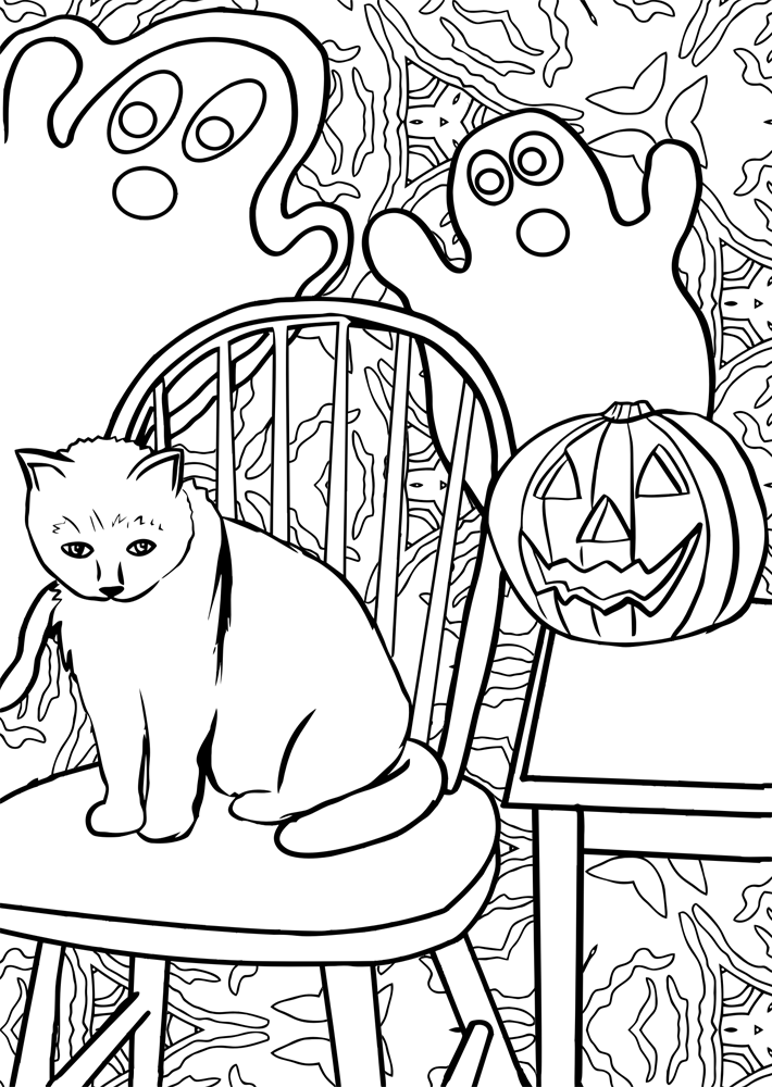 Printable colouring page of a car sitting on a chair beside a Halloween pumpkin and ghosts floating nearby