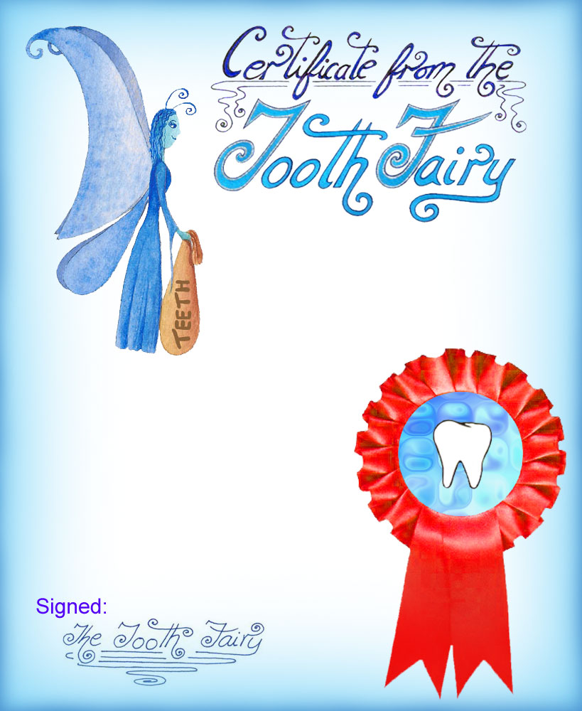 A blank blue certificate from the Tooth Fairy so that you can write your own message for your child
