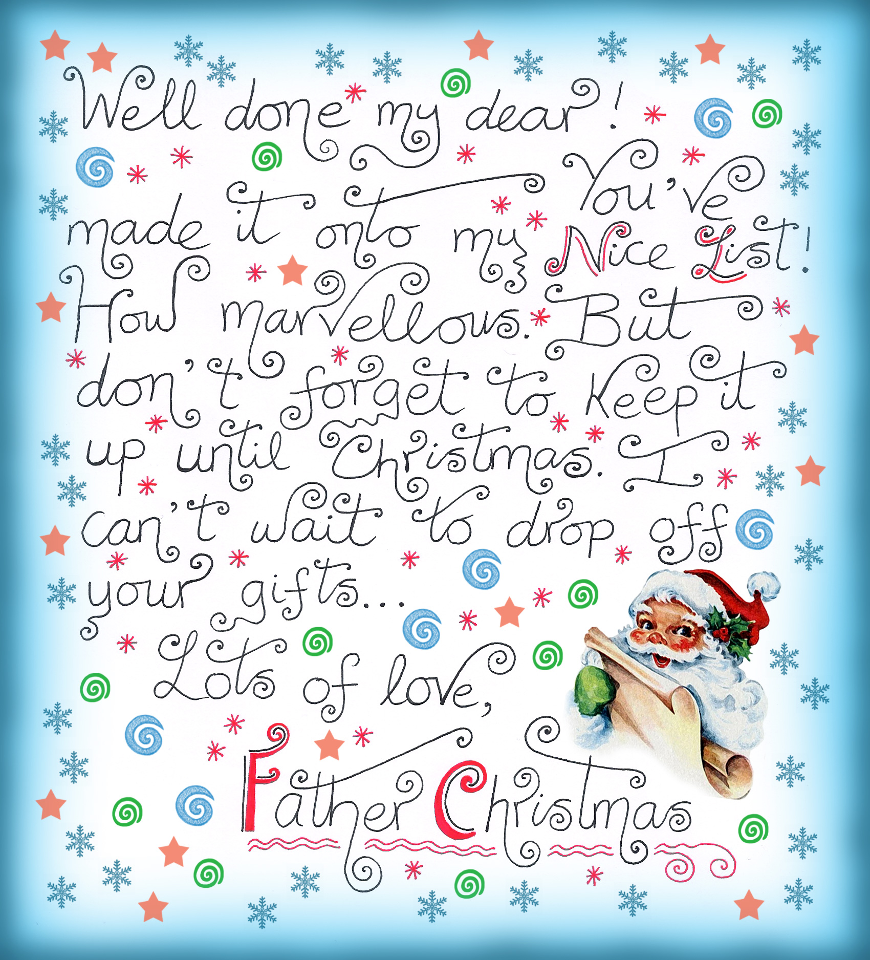 A note from Father Christmas to say you're on the Nice List