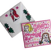 Photo showing front and back of a packet of Good Girl Sprinkles.