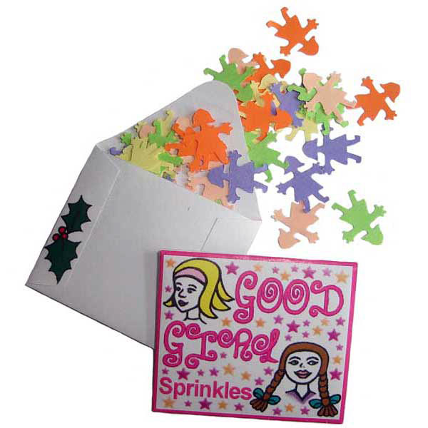 A tiny envelope full of paper sprinkles shaped like girls.  The elves say each one represents a time that Father Christmas thought you did something good!