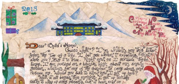 """Close up of the beginning of """"Father Christmas and the Witch's Broom"""", a two page story-letter from Father Christmas."""