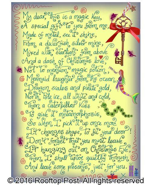 Poem explaining Santa's magic key