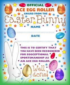 Easter Bunny printable award for egg rolling games.