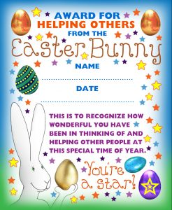 Printable award for helping others from the Easter Bunny.