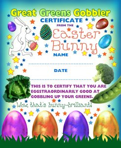 Award from the Easter Bunny to say well done for gobbling up your greens!