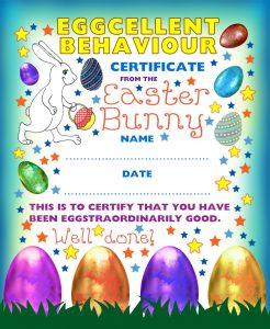 Printable Easter Bunny certificate of eggcellent behaviour