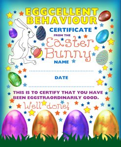 Printable Easter Bunny certificate of eggcellent behaviour