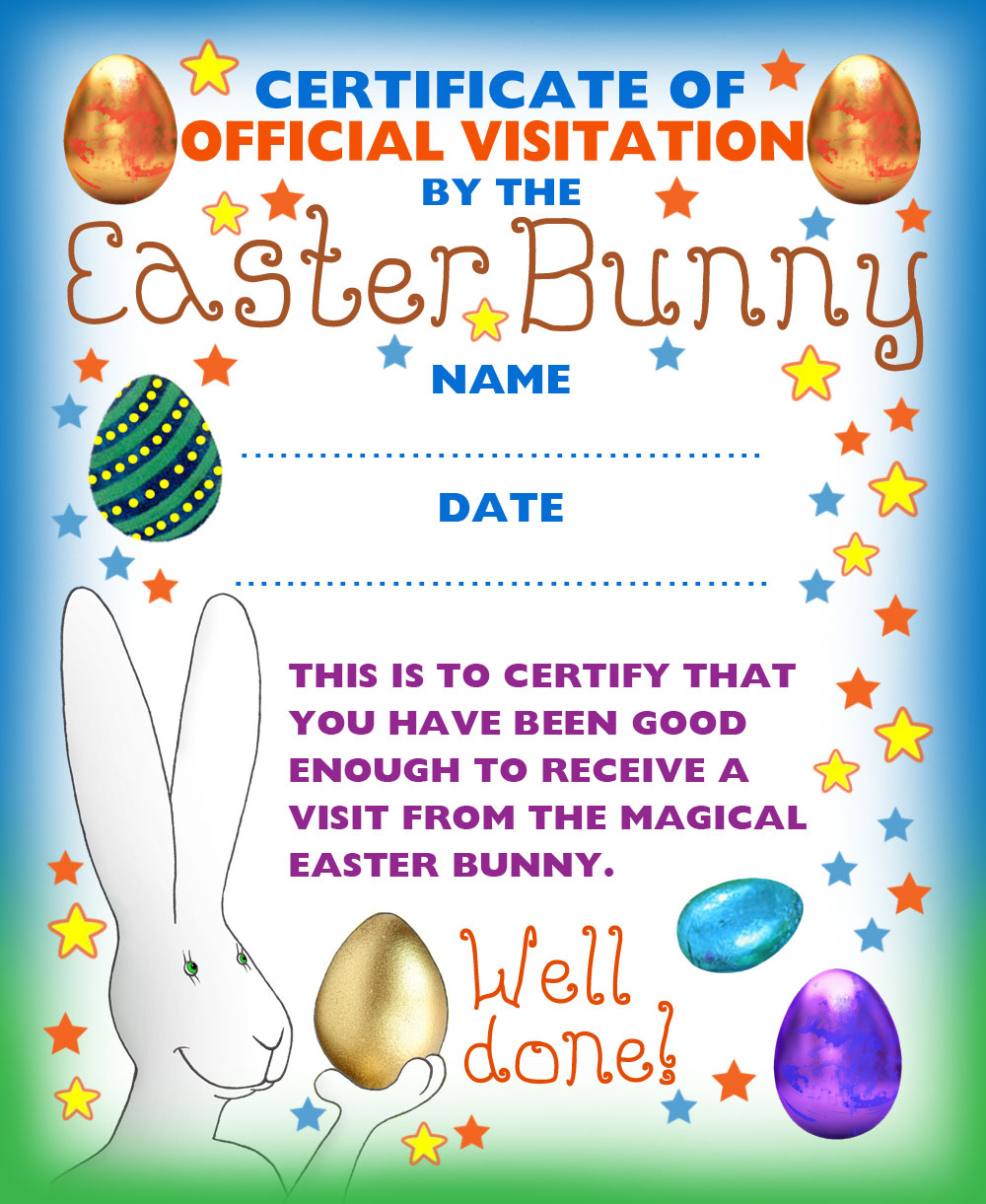 A certificate to assert that you've been good enough for a visit from the Easter Bunny