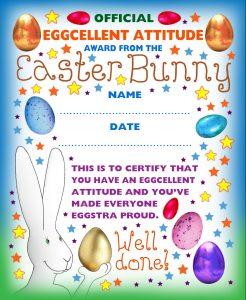 Easter kids award certificate for an eggcellent attitude.