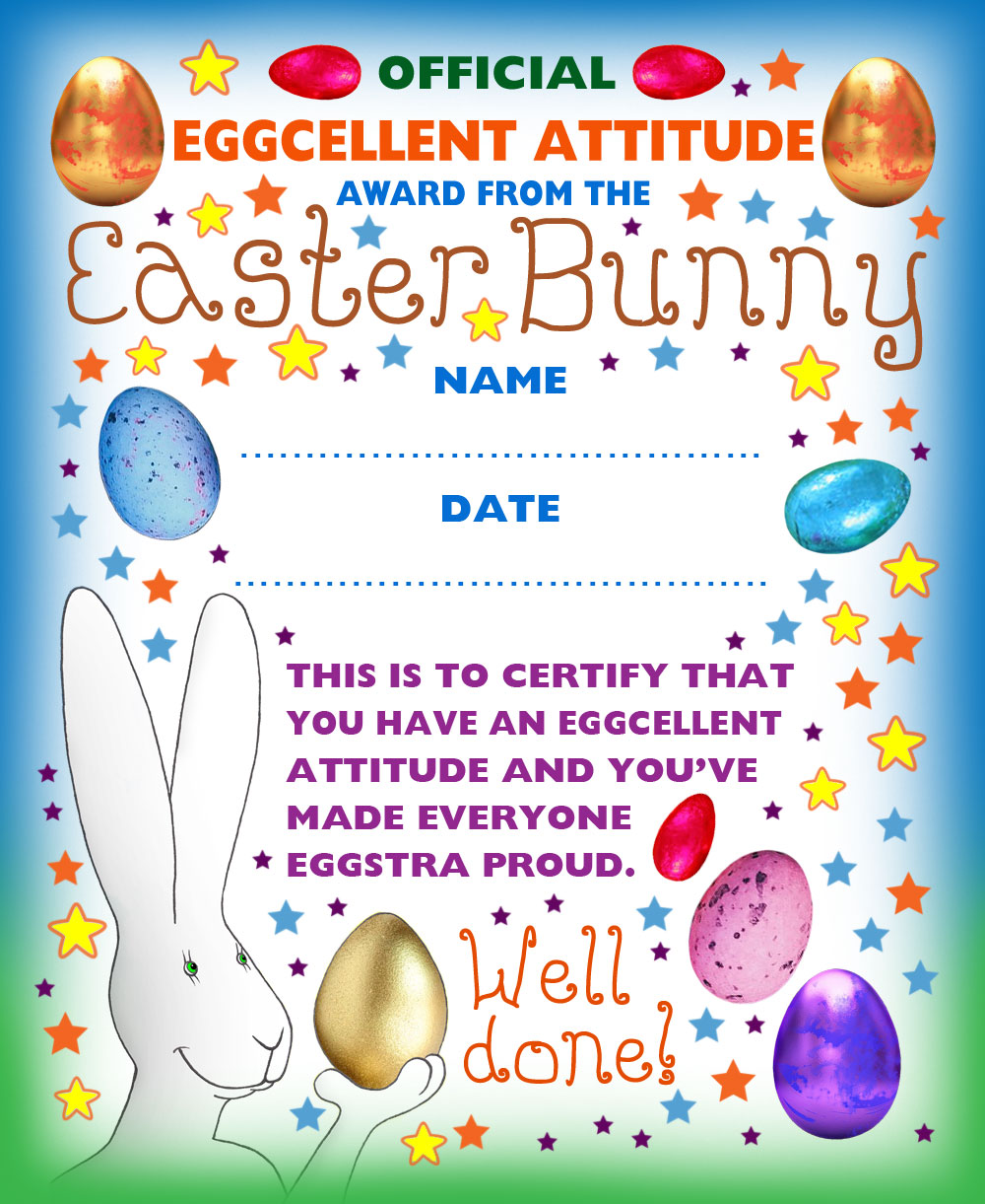 Easter kids award certificate for an eggcellent attitude.