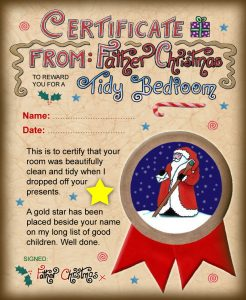 Certificate from Santa saying well done for cleaning your room
