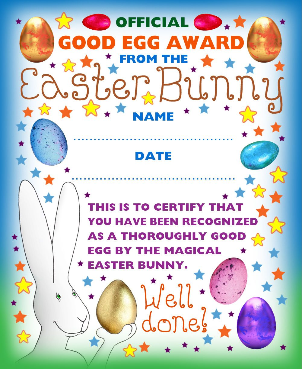 "Funny Easter Bunny award for a ""Good Egg"""